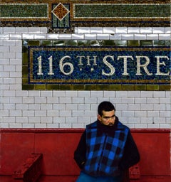 RED BENCH- 116TH STREET, hyper-realism, man in chair, red bench, blue jacket