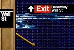 WALL ST. - YELLOW RAILING, nyc subway signs, hyper-realist, blue bricks, yellow