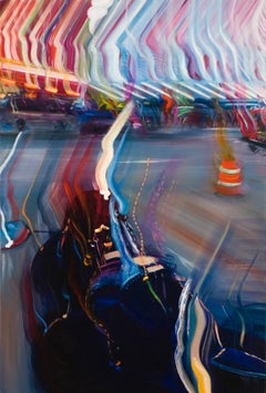FRIVOLOUS ERRAND, blurry lights, motor cycle, orange cone, neon lights, street
