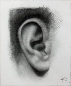 MY EAR, black and white, drawing, hyper-realistic, human ear