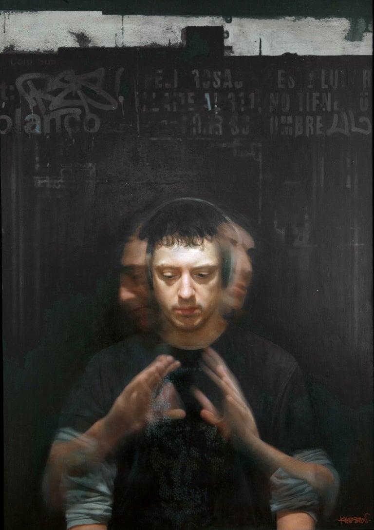 David Kassan Portrait Painting - SELF PORTRAIT IN MOTION, young man, hands, portrait, hyper-realist, black