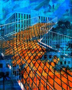 SAN MATEO SKATE SPOT, bright orange, blue, overlaid perspectives, staircase