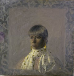 SELF PORTRAIT WITH SCARF, portrait, muted colors, gold earrings, white scarf