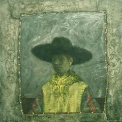 SELF PORTRAIT WITH BLACK HAT, self portrait, muted colors, green background