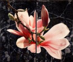 MOON GLOW (DIPTYCH), pinkish flower, dark background, photo-realism