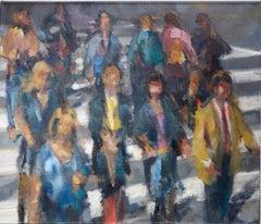 CROSSWALK, people crossing street, city, crowded street, oil paint, crowd