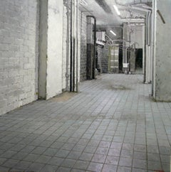 GUTTED INTERIOR, photo-realism, empty room, grey tiles, white walls, building