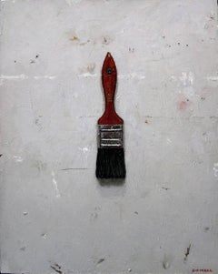 The Paint Brush, Realist Still Life Oil Painting, Trompe L'oeil, Red, Grey, Gray