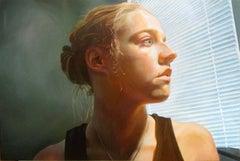 KAREN JEAN 3, portrait, photo-realism, light on face, shadows, woman, window