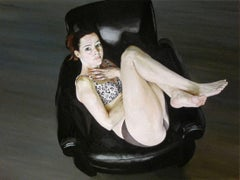 JEN 6, hyper-realism, women curled in chair, black, leopard print, crossed arms