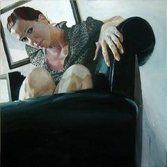 JEN 4, photo-realism, still-life, women in chair, staring, leopard print