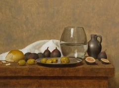 OLIVES AND FIGS, still-life, vegetables, fruits, hyper-realism, glass of water