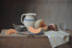 CANTALOUPE AND PROSCIUTTO, still-life, photo-realism, food, fruit, orange, blue