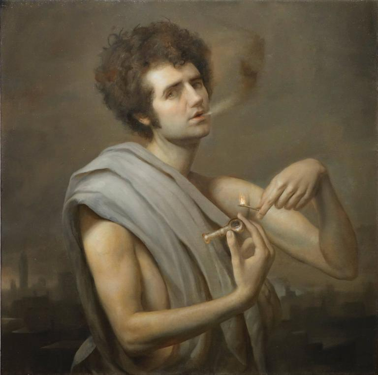 adam miller bacchus with pipe painting for sale at 1stdibs