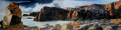 BIND, coastal landscape, hyper-realism, rocks, waves, cliff, shadows, brown