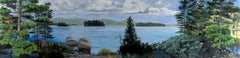 LOOSE, nature landscape, photo-realism, blue water, forest surrounding lake