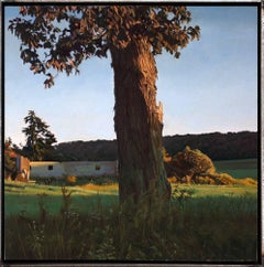 TREES ON A LINE #100, photo-realism, tree in the country, shadows, green