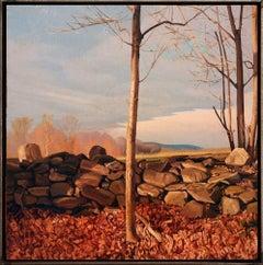 TREES ON A LINE #23, hyper-realism, stone wall, farmland, dusk lighting