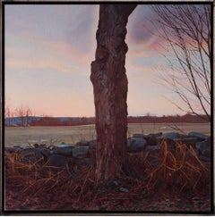 TREES ON A LINE FELLED, tree, stone wall, photo-realism, landscape, dusk
