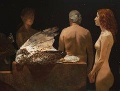 THE REHABILITATORS, photo-realistic, still-life, nude, bird on table, red hair
