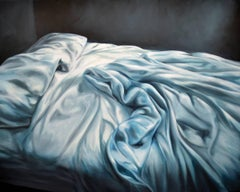 DREAM HATCH, messy bed, photo-realistic, sheets, blue, white, bed