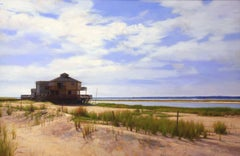 SOUTHAMPTON BAY, landscape, photo-realism, house on the water, sand, ocean
