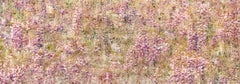 AMETHYST FALLS, figurative landscape, pink, yellow, flowers, nature