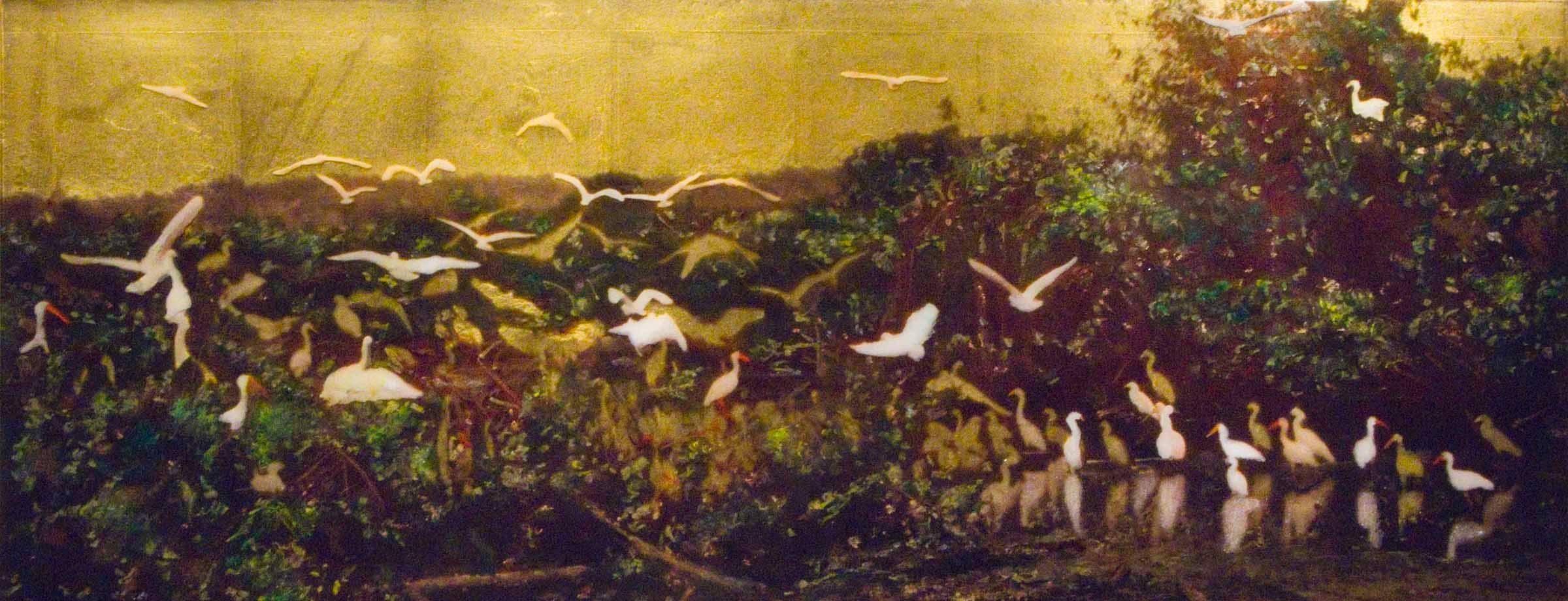 SITTING PRETTY, figurative landscape, yellow sky, white birds, nature, trees