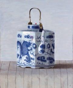 DRAGON TEAPOT ON STRIPES, still-life, blue detail on white china, hyper-real