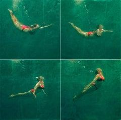 RISING UP (QUAD), photo-realism, women underwater, green water, red bikini