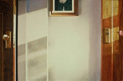 SERVANT'S LIGHT, photo-realism, white wall, shadows, reflection of sun, wood