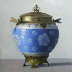 URN WITH DRAGONFLIES, fine china, still-life, photo-realism, blue, white