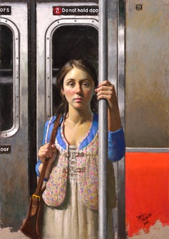 SOPHIE IN TRANSIT, photo-realism, portrait, nyc subway, woman on train, blue