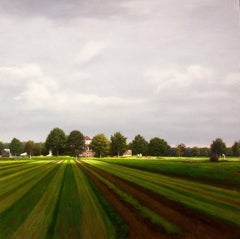 DUTCH STRIPES, hyper-realistic landscape, bright green, open field, cloudy skies