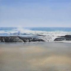 HANA SURF, photo-realistic waterscape, wave hitting the beach, blue, white, sand