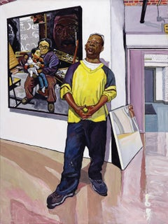 GREGORY AT GALLERY HENOCH, portrait, man standing in gallery, vibrant colors