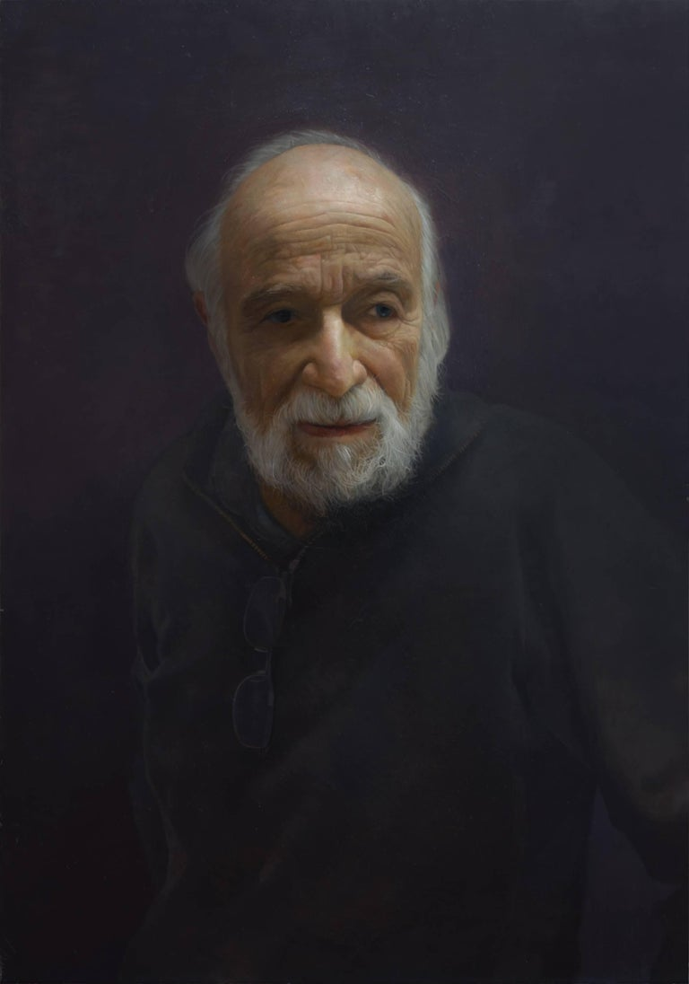 David Kassan Portrait Painting - BURTON SILVERMAN, portrait of man, black sweater, portrait, photo-realism