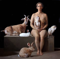 RESCUER WITH OWLS, RABBITS, AND A FERAL GOAT, hyper-realistic, still-life
