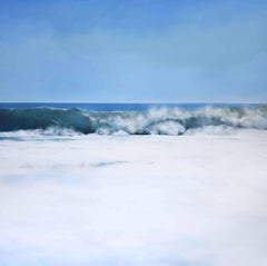 AZURE, hyper-realism, waterscape, waves in the ocean, white crests, blue sky