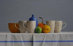 FOUR POLKA DOT CUPS, FRUIT, CUPS ON TABLE, BLUE, YELLOW, WHITE, PORCELAIN