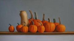 SQUASH AND PUMPKINS, photo-realism, still life, fruits and vegetables, orange