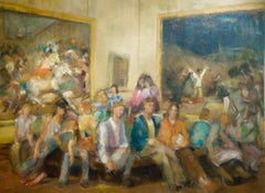2ND AND 3RD OF MAY, figurative portrait, people seated in museum, muted colors