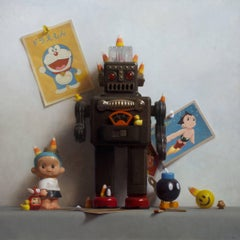 SMOKING ROBOT, hyper-realist, still-life, toy robot, toy figures, yellow, blue