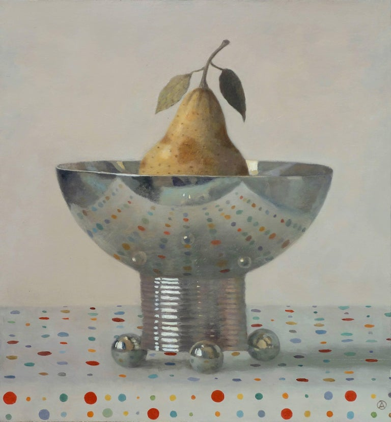Pear in Silver Bowl