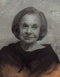 ROSLYN, black and white portrait of woman, photo-realism, detailed face