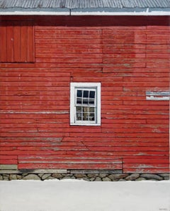 RED BARN WALL, photo-realism, bright red, white window frame, old building