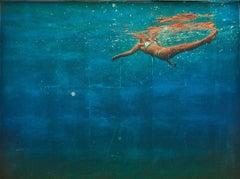 AWE, women with body underwater, shades of blue, shades of green, bright bikini