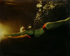 INTO THE LIGHT, hyper-realist, women diving underwater, water at night, red