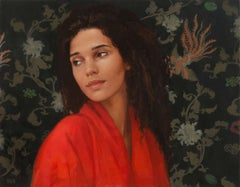 Z WITH DRAGON, hyper-realism, black hair, red robe, floral background, portrait