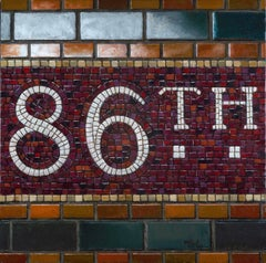 86TH ST.- MOSAIC, subway sign, brown tile, white lettering, nyc, train station